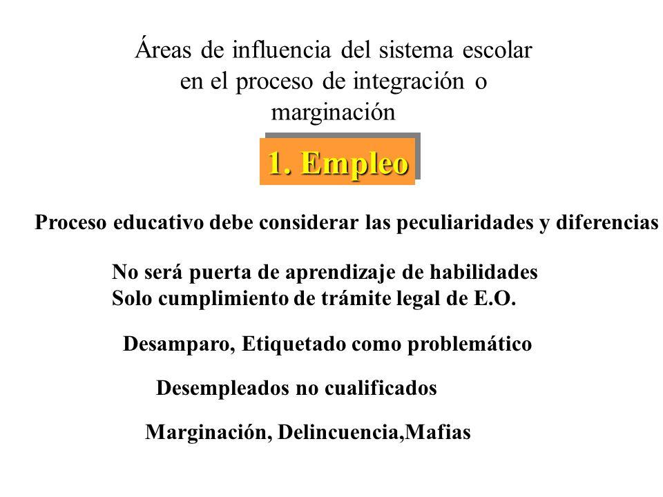 Áreas de influencia del sistema escolar en el proceso de integración o marginación 1.