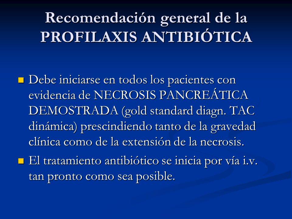 Recomendación general de la PROFILAXIS ANTIBIÓTICA Debe iniciarse en todos los pacientes con evidencia de NECROSIS PANCREÁTICA DEMOSTRADA (gold standa