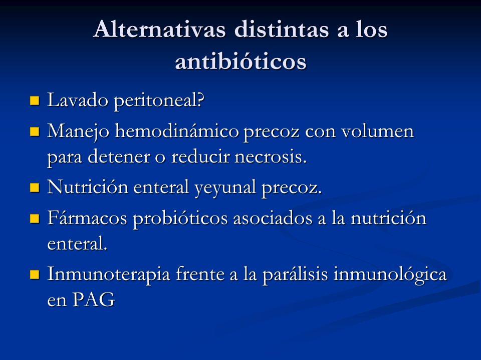 Alternativas distintas a los antibióticos Lavado peritoneal? Lavado peritoneal? Manejo hemodinámico precoz con volumen para detener o reducir necrosis