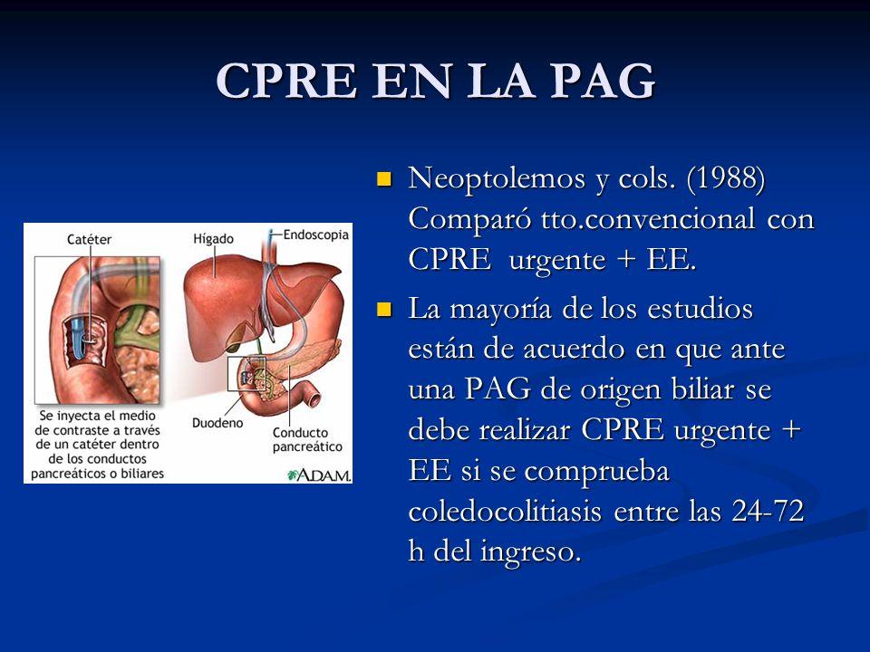 CPRE EN LA PAG Neoptolemos y cols. (1988) Comparó tto.convencional con CPRE urgente + EE. La mayoría de los estudios están de acuerdo en que ante una