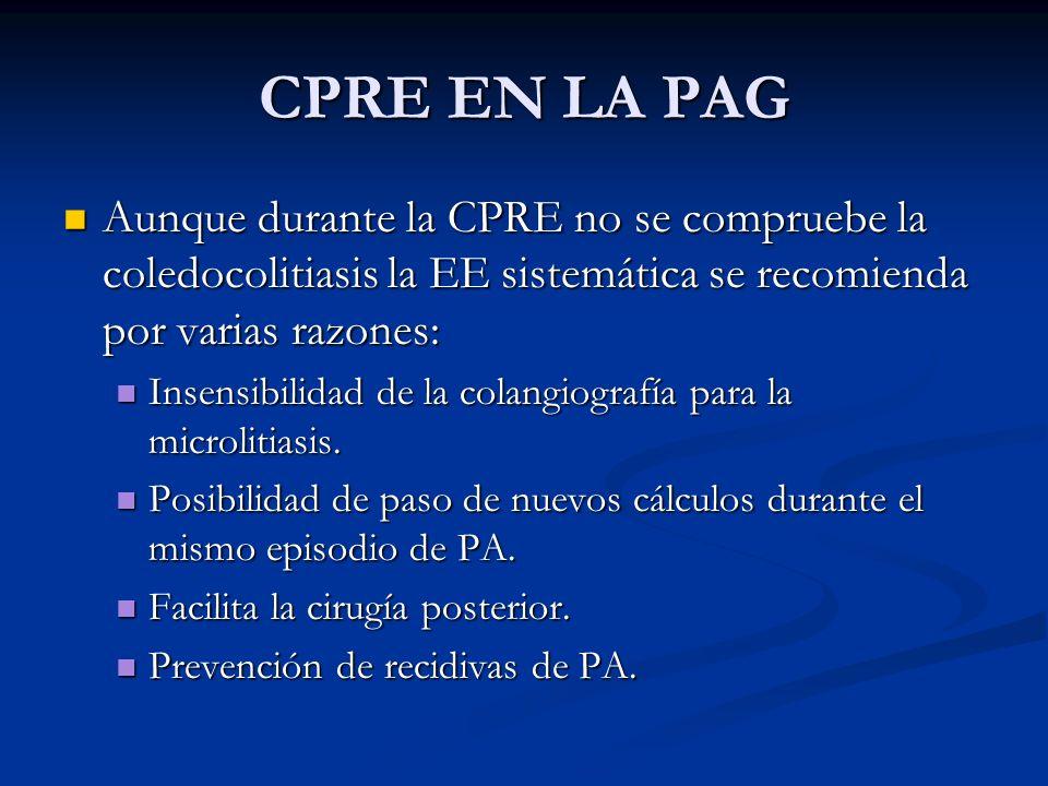 CPRE EN LA PAG Aunque durante la CPRE no se compruebe la coledocolitiasis la EE sistemática se recomienda por varias razones: Aunque durante la CPRE n