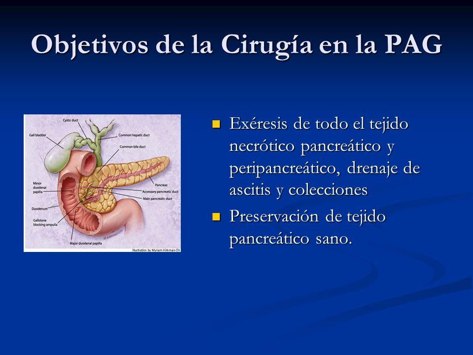 Objetivos de la Cirugía en la PAG Exéresis de todo el tejido necrótico pancreático y peripancreático, drenaje de ascitis y colecciones Preservación de