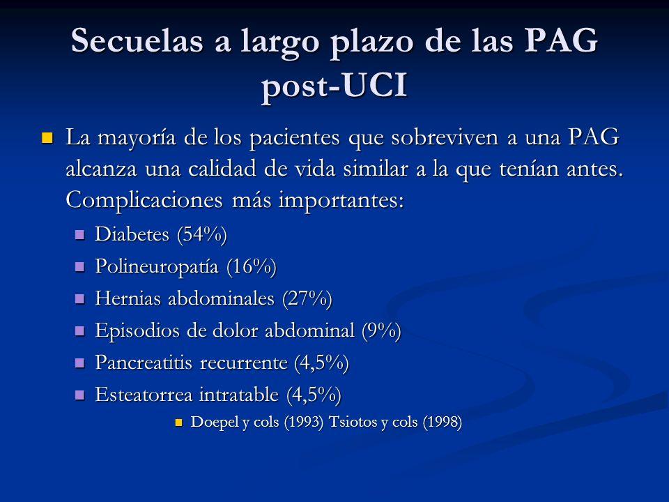 Secuelas a largo plazo de las PAG post-UCI La mayoría de los pacientes que sobreviven a una PAG alcanza una calidad de vida similar a la que tenían an