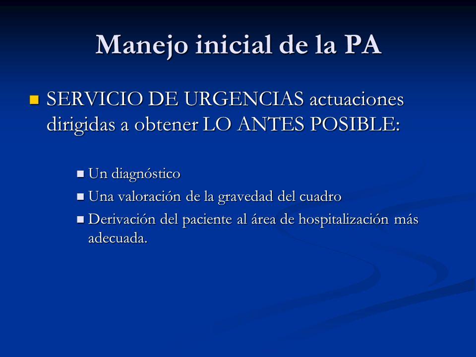 Manejo inicial de la PA SERVICIO DE URGENCIAS actuaciones dirigidas a obtener LO ANTES POSIBLE: SERVICIO DE URGENCIAS actuaciones dirigidas a obtener