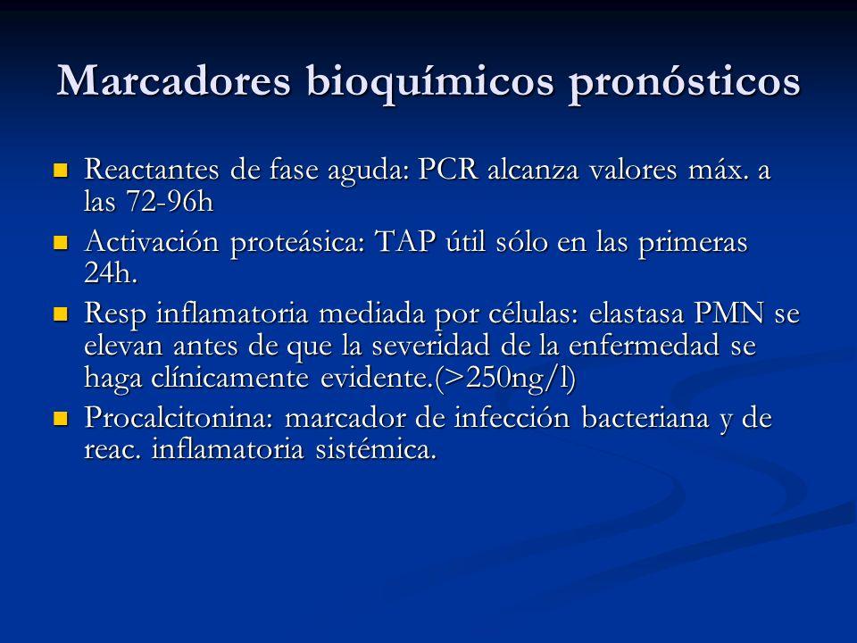 Marcadores bioquímicos pronósticos Reactantes de fase aguda: PCR alcanza valores máx. a las 72-96h Reactantes de fase aguda: PCR alcanza valores máx.