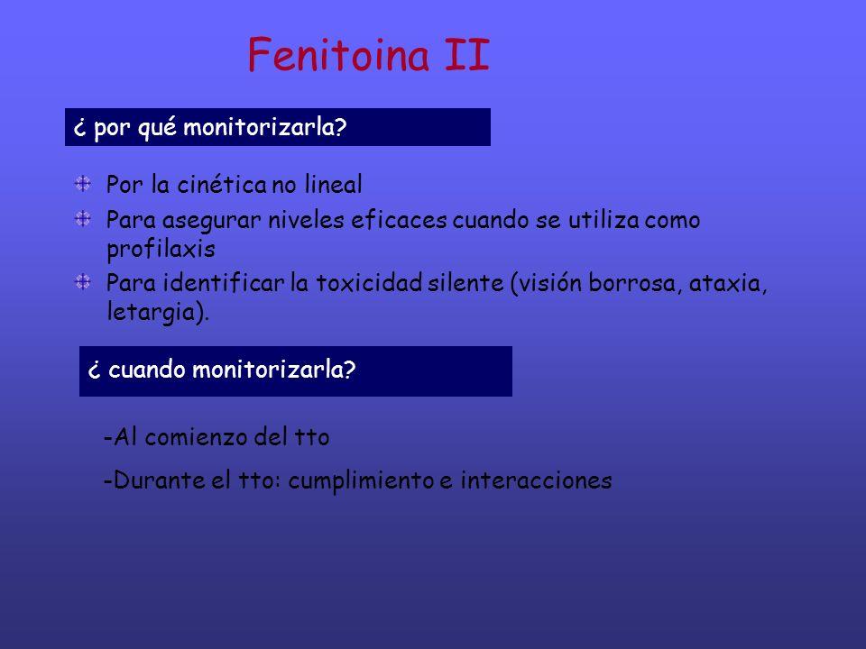 Fenitoina II Por la cinética no lineal Para asegurar niveles eficaces cuando se utiliza como profilaxis Para identificar la toxicidad silente (visión