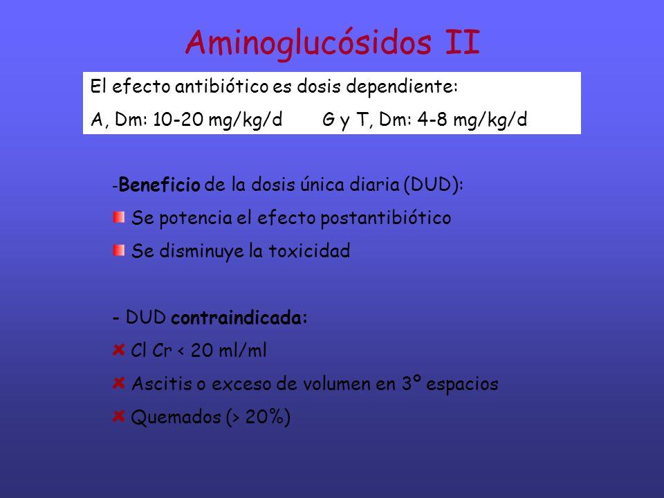 Aminoglucósidos II - Beneficio de la dosis única diaria (DUD): Se potencia el efecto postantibiótico Se disminuye la toxicidad - DUD contraindicada: C