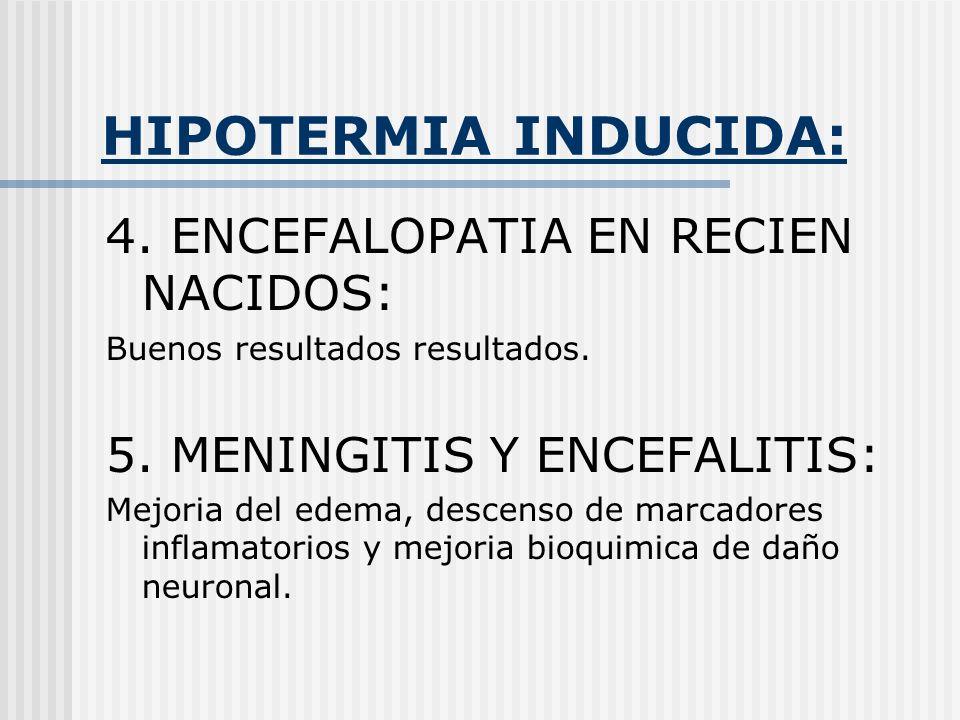 HIPOTERMIA INDUCIDA: 4. ENCEFALOPATIA EN RECIEN NACIDOS: Buenos resultados resultados. 5. MENINGITIS Y ENCEFALITIS: Mejoria del edema, descenso de mar