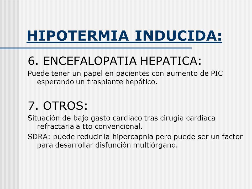 HIPOTERMIA INDUCIDA: 6. ENCEFALOPATIA HEPATICA: Puede tener un papel en pacientes con aumento de PIC esperando un trasplante hepático. 7. OTROS: Situa