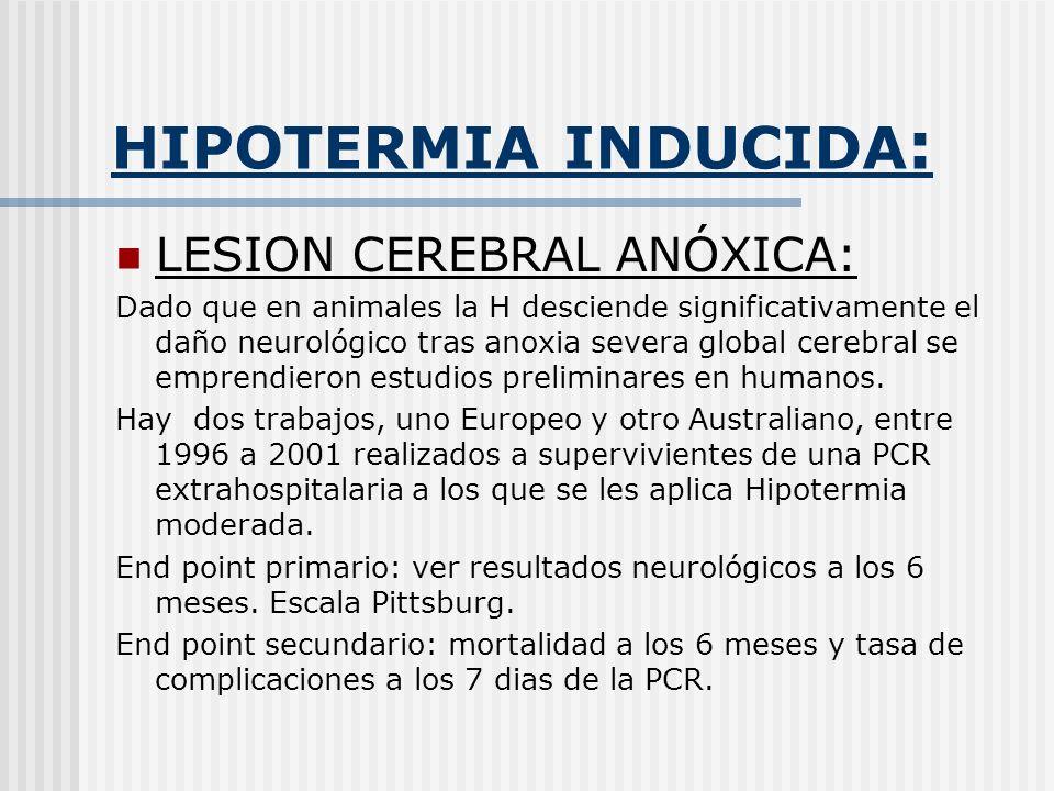 HIPOTERMIA INDUCIDA : LESION CEREBRAL ANÓXICA: Dado que en animales la H desciende significativamente el daño neurológico tras anoxia severa global ce