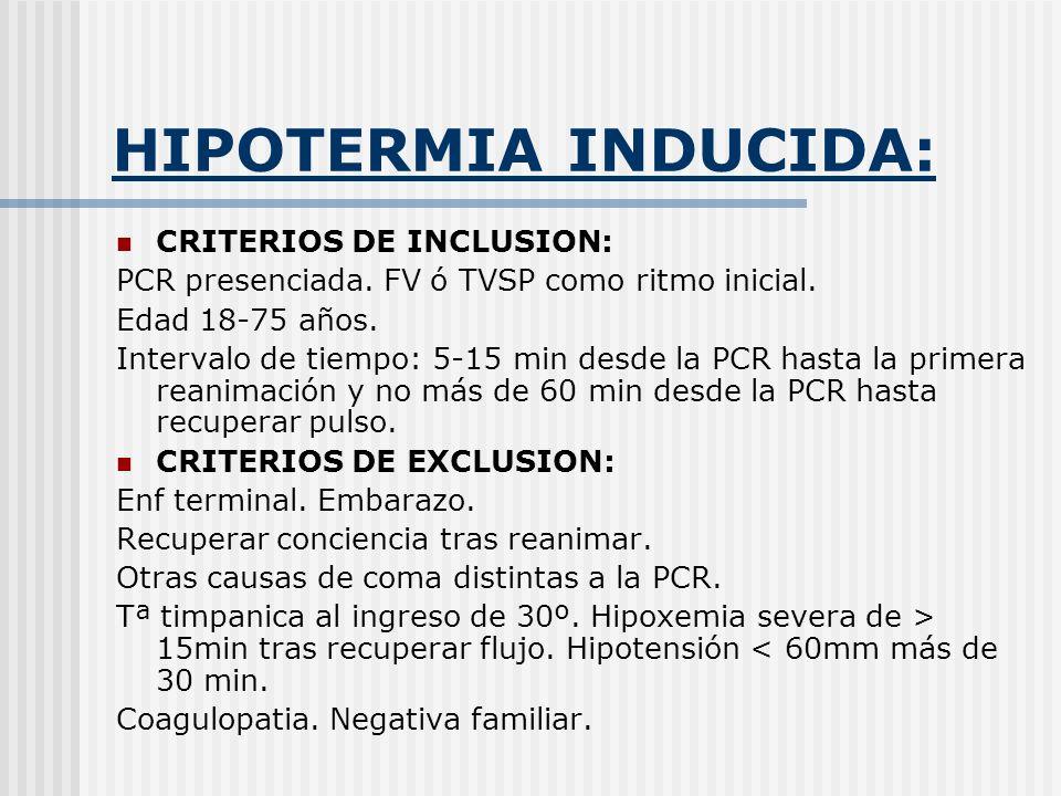 HIPOTERMIA INDUCIDA: CRITERIOS DE INCLUSION: PCR presenciada. FV ó TVSP como ritmo inicial. Edad 18-75 años. Intervalo de tiempo: 5-15 min desde la PC