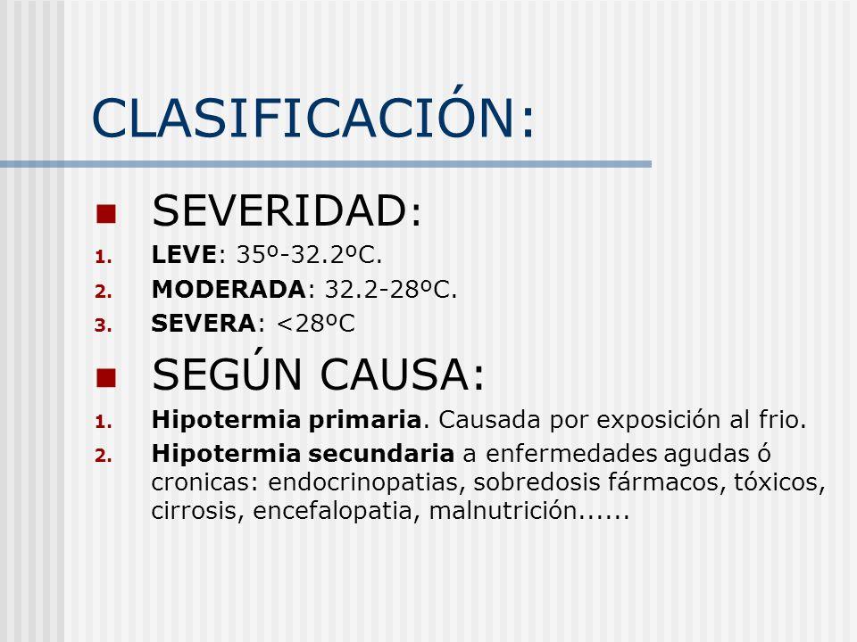 CLASIFICACIÓN: SEVERIDAD : 1. LEVE: 35º-32.2ºC. 2. MODERADA: 32.2-28ºC. 3. SEVERA: <28ºC SEGÚN CAUSA: 1. Hipotermia primaria. Causada por exposición a