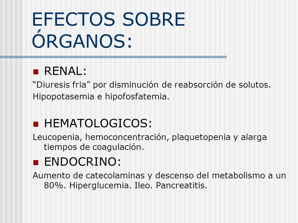 EFECTOS SOBRE ÓRGANOS: RENAL: Diuresis fria por disminución de reabsorción de solutos. Hipopotasemia e hipofosfatemia. HEMATOLOGICOS: Leucopenia, hemo