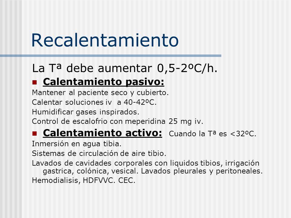 Recalentamiento La Tª debe aumentar 0,5-2ºC/h. Calentamiento pasivo: Mantener al paciente seco y cubierto. Calentar soluciones iv a 40-42ºC. Humidific