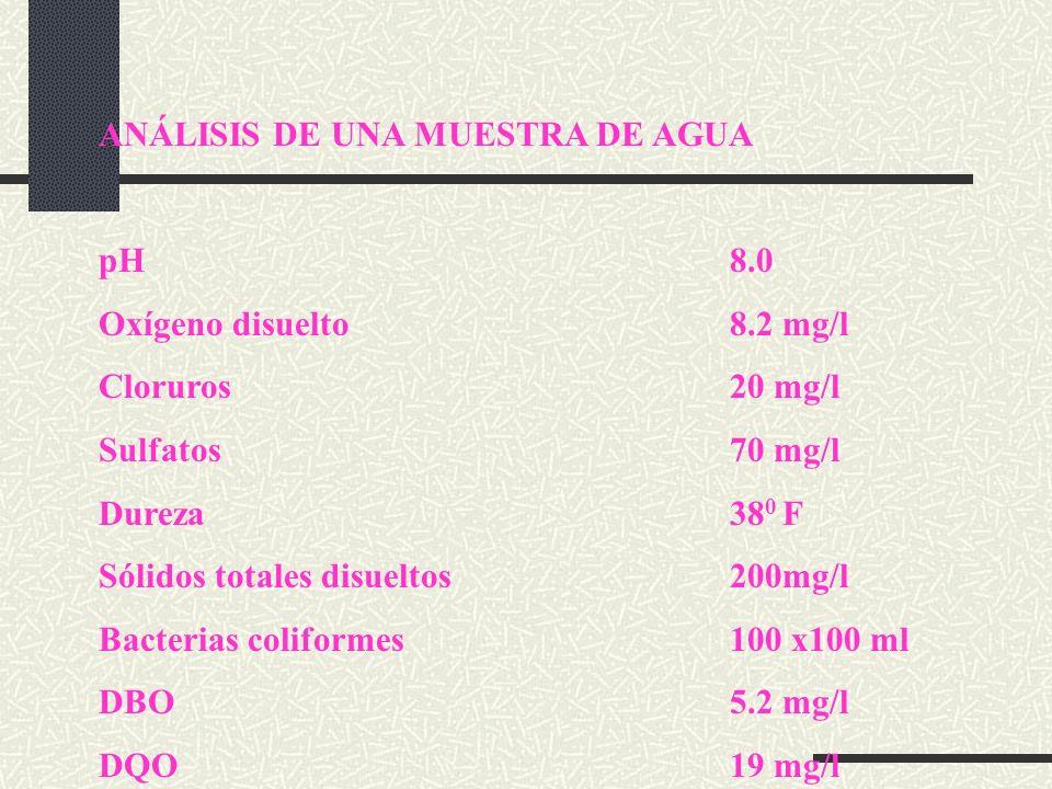 ANÁLISIS DE UNA MUESTRA DE AGUA pH8.0 Oxígeno disuelto8.2 mg/l Cloruros20 mg/l Sulfatos70 mg/l Dureza38 0 F Sólidos totales disueltos200mg/l Bacterias coliformes100 x100 ml DBO5.2 mg/l DQO19 mg/l