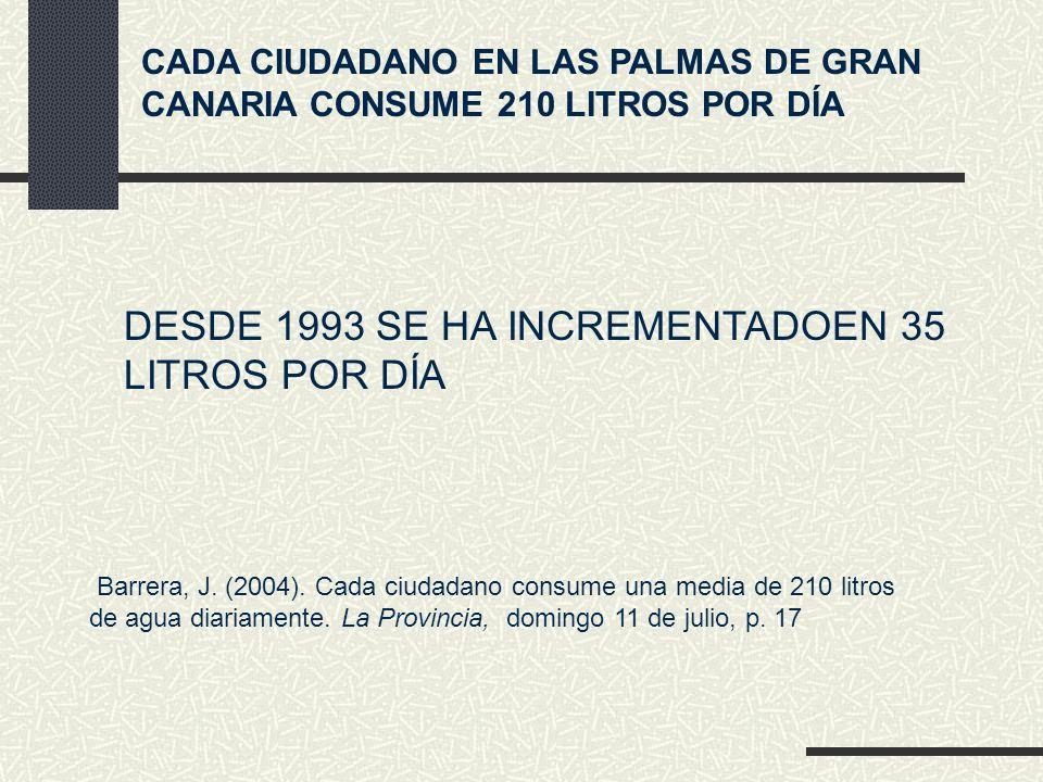 CADA CIUDADANO EN LAS PALMAS DE GRAN CANARIA CONSUME 210 LITROS POR DÍA DESDE 1993 SE HA INCREMENTADOEN 35 LITROS POR DÍA Barrera, J.