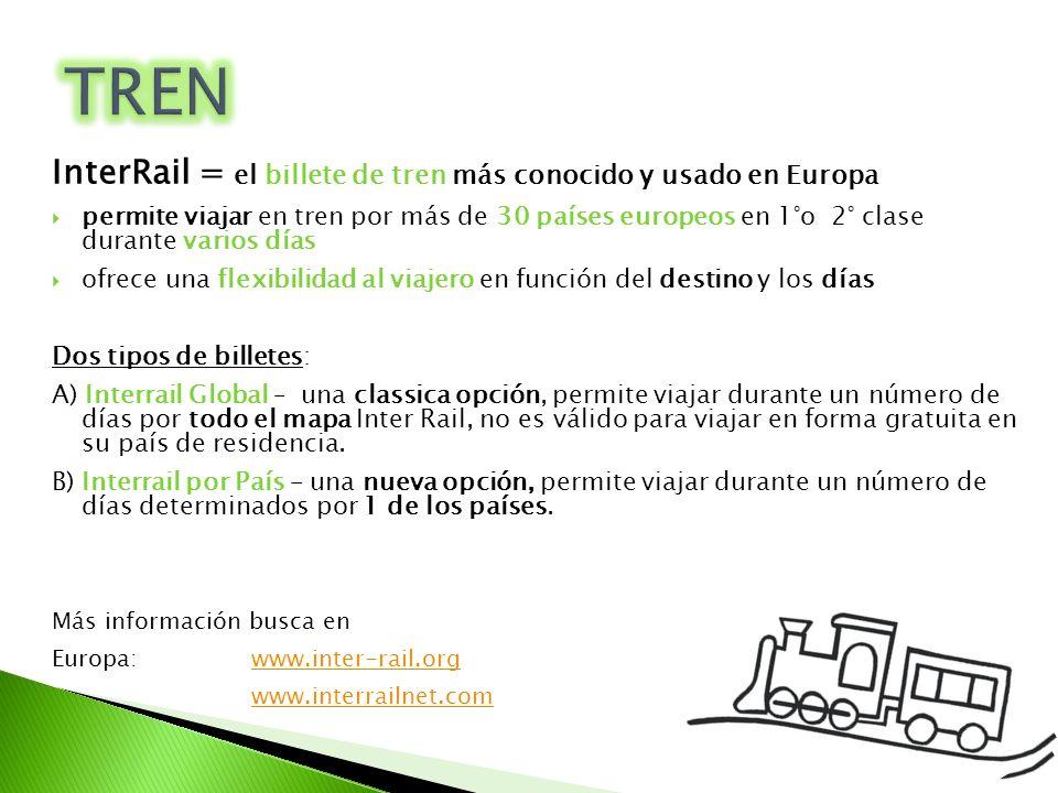 InterRail = el billete de tren más conocido y usado en Europa permite viajar en tren por más de 30 países europeos en 1°o 2° clase durante varios días