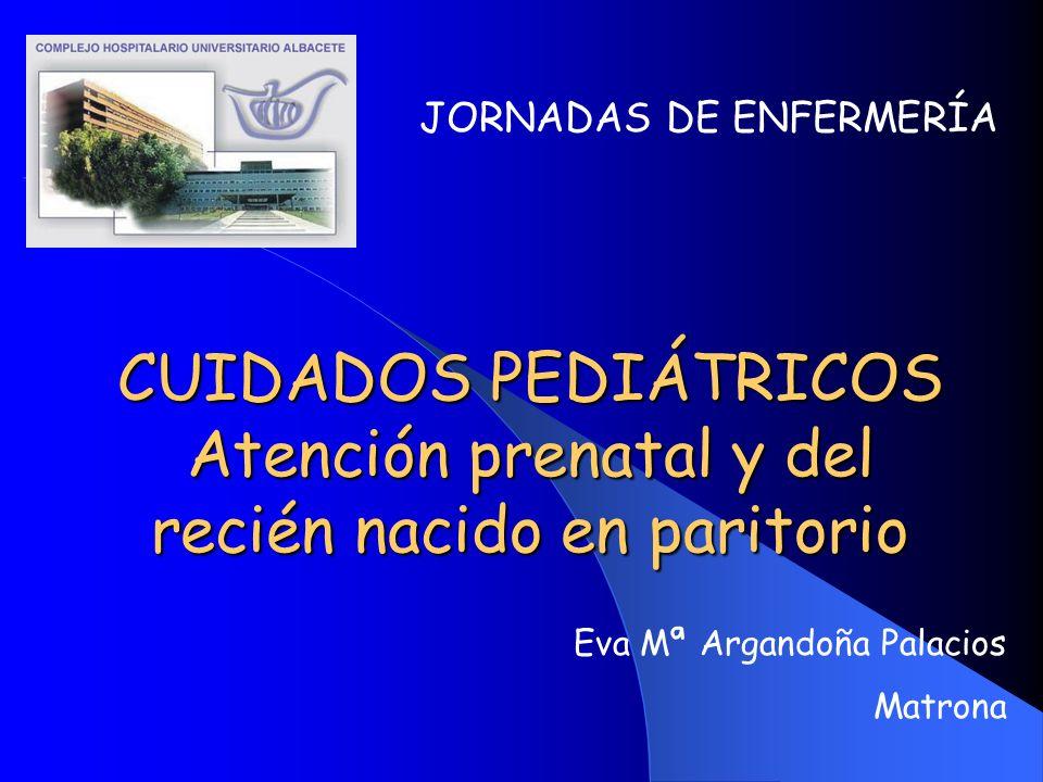 CUIDADOS PEDIÁTRICOS Atención prenatal y del recién nacido en paritorio JORNADAS DE ENFERMERÍA Eva Mª Argandoña Palacios Matrona