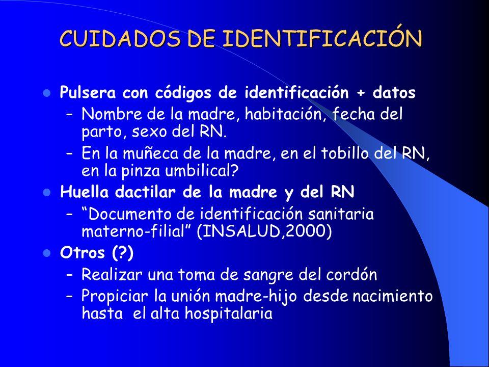 CUIDADOS DE IDENTIFICACIÓN Pulsera con códigos de identificación + datos – Nombre de la madre, habitación, fecha del parto, sexo del RN. – En la muñec