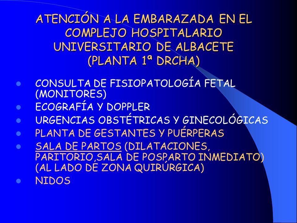 ATENCIÓN A LA EMBARAZADA EN EL COMPLEJO HOSPITALARIO UNIVERSITARIO DE ALBACETE (PLANTA 1ª DRCHA) CONSULTA DE FISIOPATOLOGÍA FETAL (MONITORES) ECOGRAFÍ