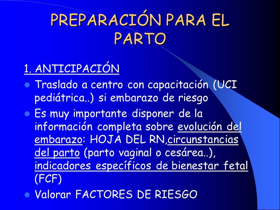 PREPARACIÓN PARA EL PARTO 1. ANTICIPACIÓN Traslado a centro con capacitación (UCI pediátrica..) si embarazo de riesgo Es muy importante disponer de la