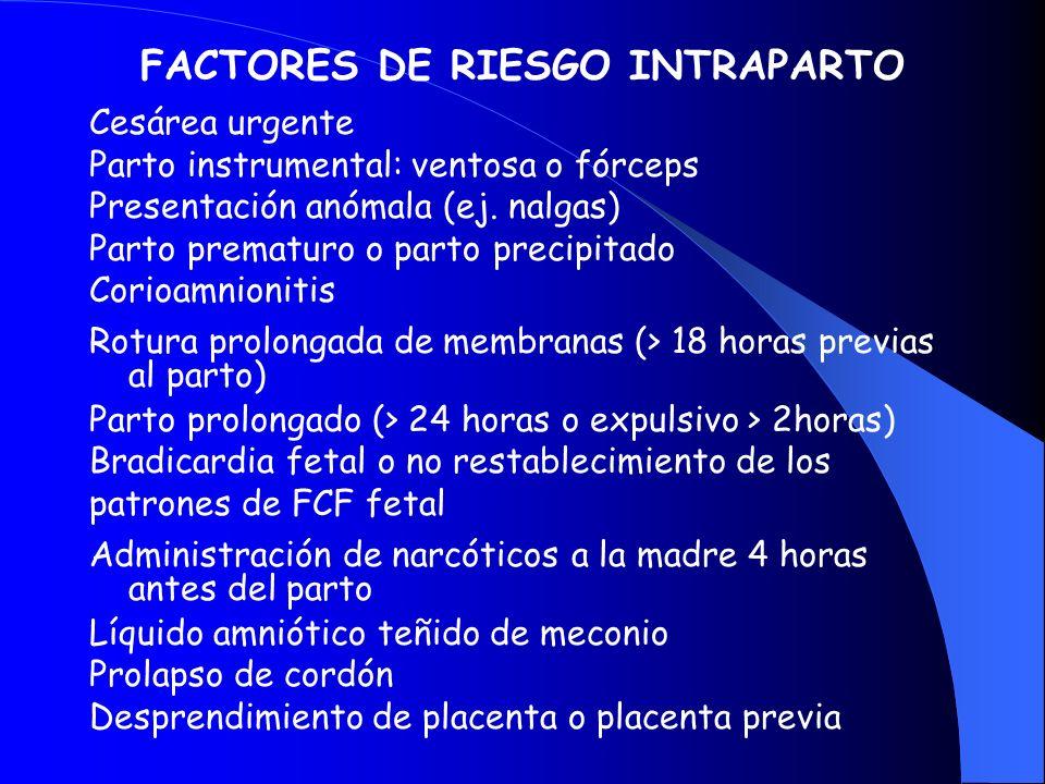 FACTORES DE RIESGO INTRAPARTO Cesárea urgente Parto instrumental: ventosa o fórceps Presentación anómala (ej. nalgas) Parto prematuro o parto precipit