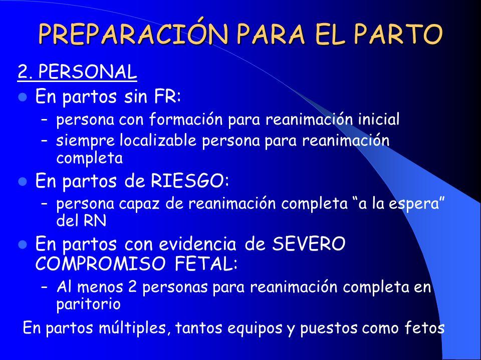 PREPARACIÓN PARA EL PARTO 2. PERSONAL En partos sin FR: – persona con formación para reanimación inicial – siempre localizable persona para reanimació