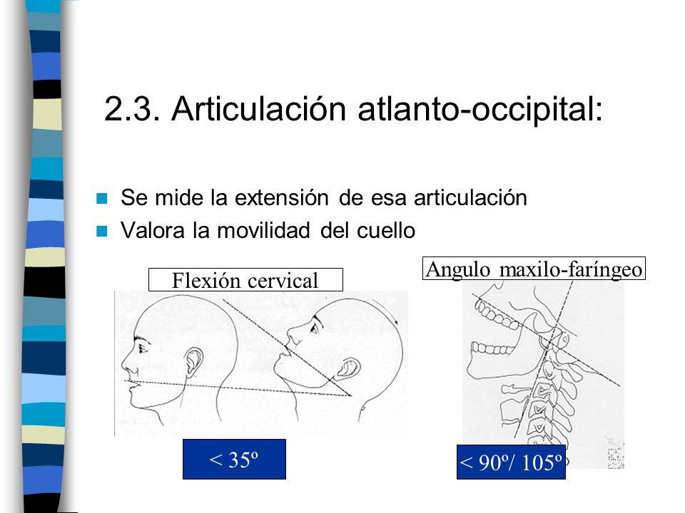 2.3. Articulación atlanto-occipital: Se mide la extensión de esa articulación Valora la movilidad del cuello < 35º Flexión cervical < 90º/ 105º Angulo