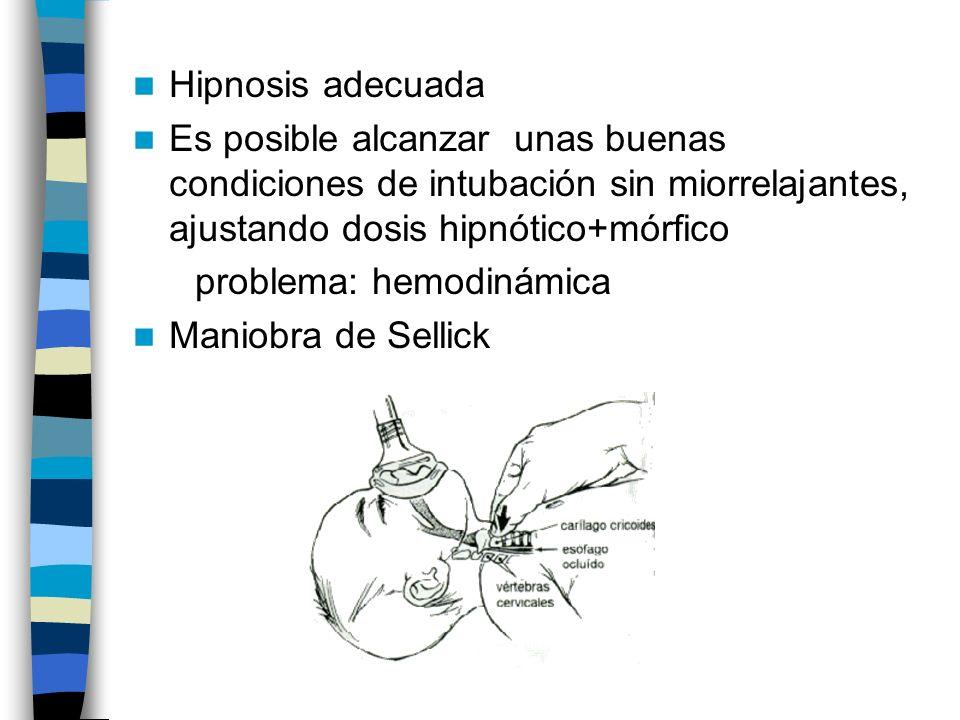 Hipnosis adecuada Es posible alcanzar unas buenas condiciones de intubación sin miorrelajantes, ajustando dosis hipnótico+mórfico problema: hemodinámica Maniobra de Sellick