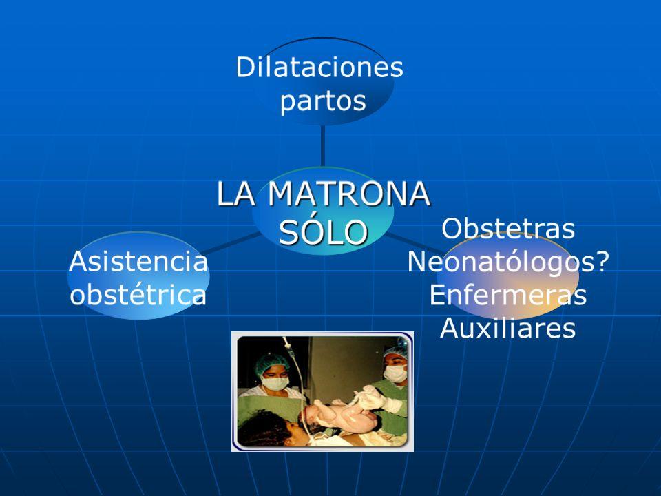 LA MATRONA SÓLO Dilataciones partos Obstetras Neonatólogos? Enfermeras Auxiliares Asistencia obstétrica
