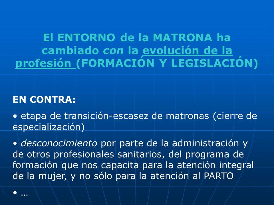 El ENTORNO de la MATRONA ha cambiado con la evolución de la profesión (FORMACIÓN Y LEGISLACIÓN) EN CONTRA: etapa de transición-escasez de matronas (ci