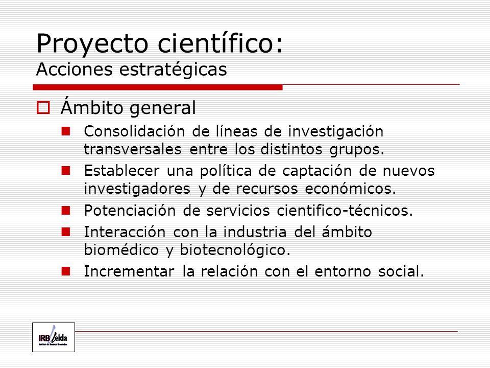 Proyecto científico: Acciones estratégicas Ámbito general Consolidación de líneas de investigación transversales entre los distintos grupos.