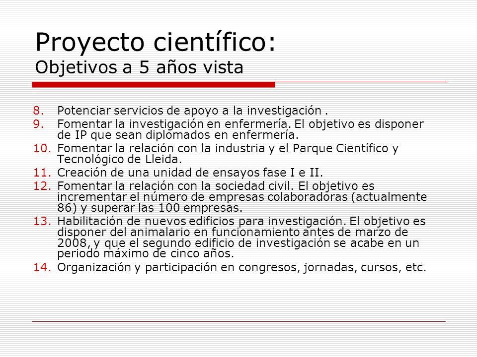 Proyecto científico: Objetivos a 5 años vista 8.Potenciar servicios de apoyo a la investigación.