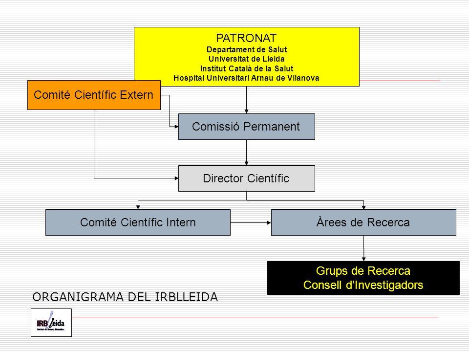 PATRONAT Departament de Salut Universitat de Lleida Institut Català de la Salut Hospital Universitari Arnau de Vilanova Comissió Permanent Comité Científic Intern Director Científic Grups de Recerca Consell dInvestigadors Àrees de Recerca Comité Científic Extern ORGANIGRAMA DEL IRBLLEIDA