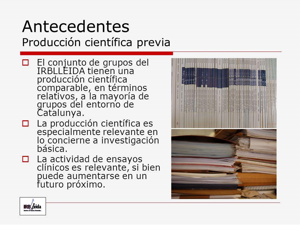 Antecedentes Producción científica previa El conjunto de grupos del IRBLLEIDA tienen una producción científica comparable, en términos relativos, a la mayoría de grupos del entorno de Catalunya.