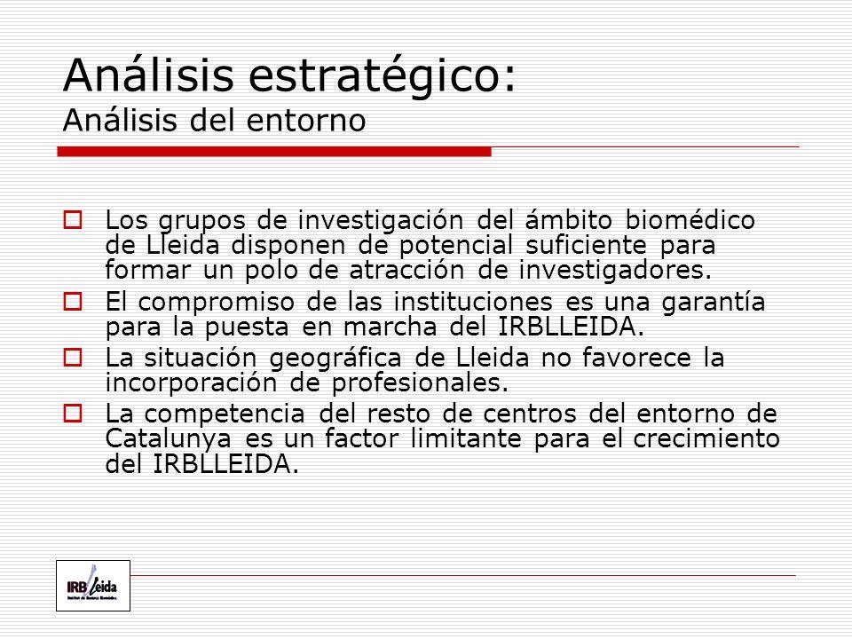 Análisis estratégico: Análisis del entorno Los grupos de investigación del ámbito biomédico de Lleida disponen de potencial suficiente para formar un polo de atracción de investigadores.