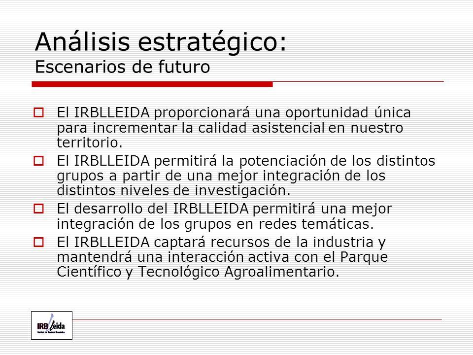 Análisis estratégico: Escenarios de futuro El IRBLLEIDA proporcionará una oportunidad única para incrementar la calidad asistencial en nuestro territorio.