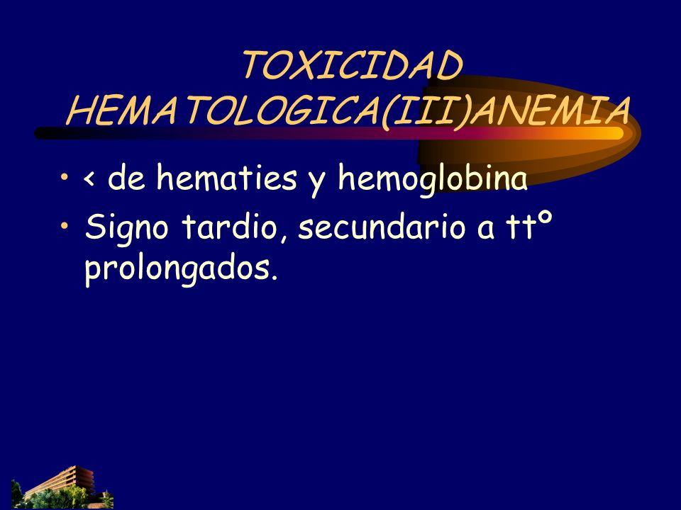 TOXICIDAD HEMATOLOGICA(III)ANEMIA < de hematies y hemoglobina Signo tardio, secundario a ttº prolongados.