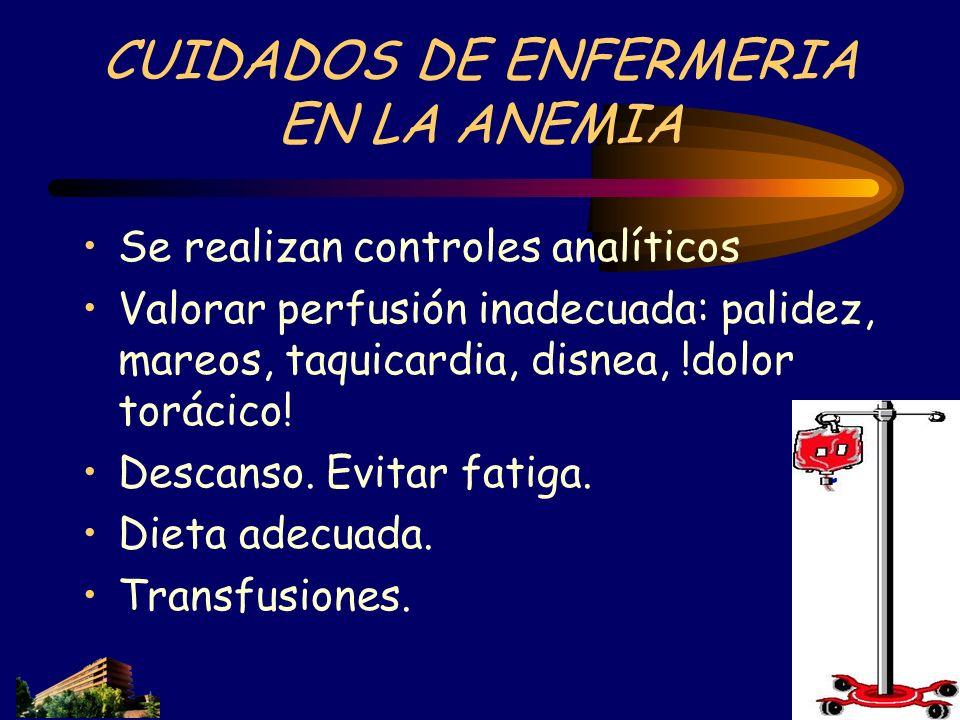 CUIDADOS DE ENFERMERIA EN LA ANEMIA Se realizan controles analíticos Valorar perfusión inadecuada: palidez, mareos, taquicardia, disnea, !dolor toráci