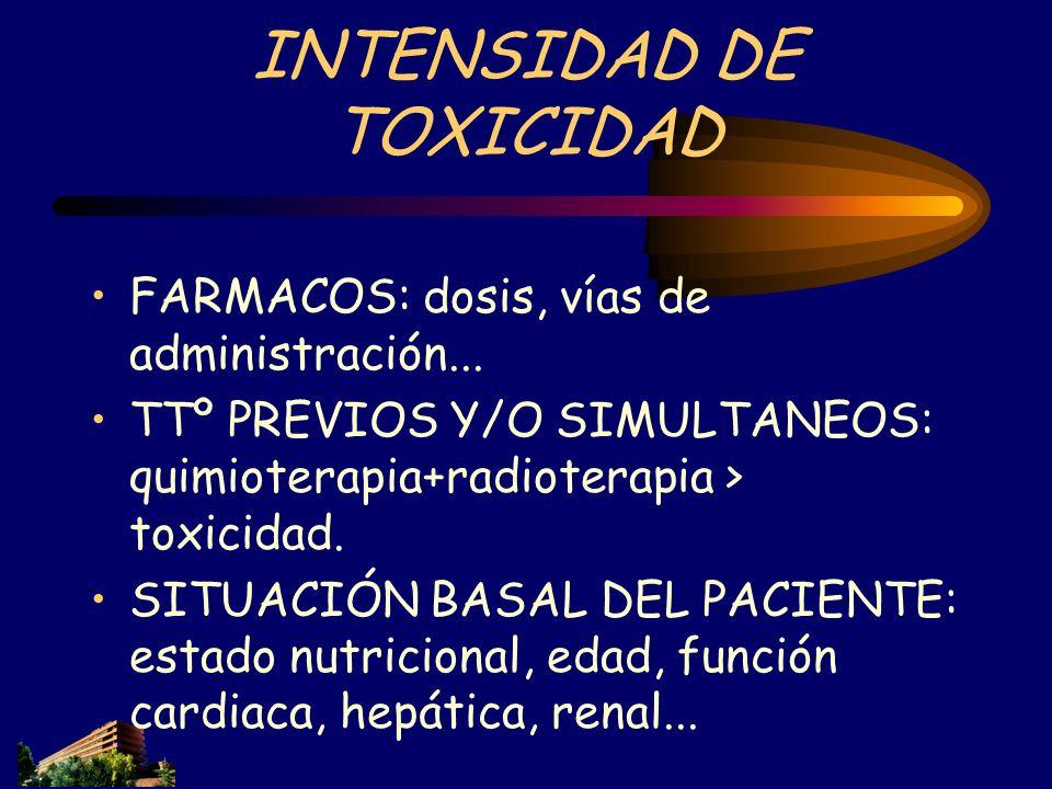 INTENSIDAD DE TOXICIDAD FARMACOS: dosis, vías de administración... TTº PREVIOS Y/O SIMULTANEOS: quimioterapia+radioterapia > toxicidad. SITUACIÓN BASA