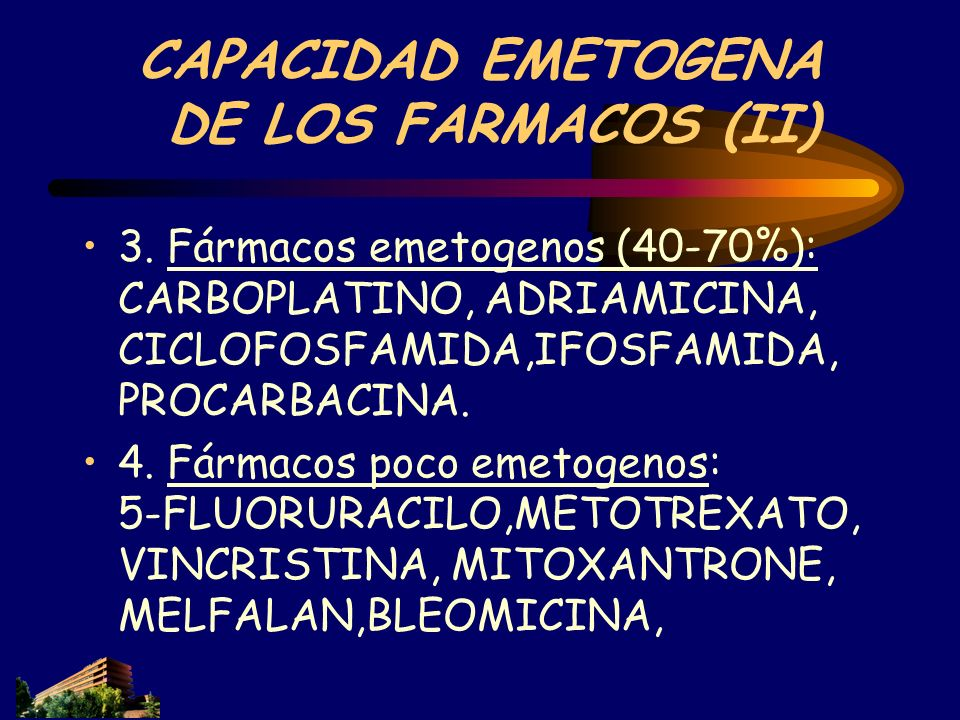 CAPACIDAD EMETOGENA DE LOS FARMACOS (II) 3. Fármacos emetogenos (40-70%): CARBOPLATINO, ADRIAMICINA, CICLOFOSFAMIDA,IFOSFAMIDA, PROCARBACINA. 4. Fárma