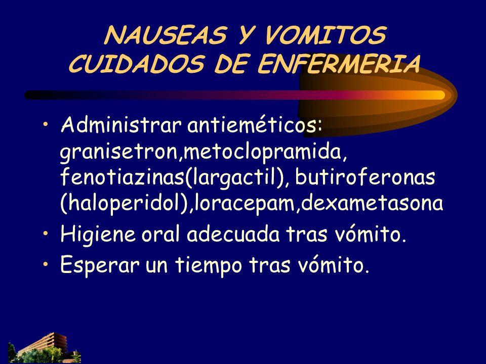 NAUSEAS Y VOMITOS CUIDADOS DE ENFERMERIA Administrar antieméticos: granisetron,metoclopramida, fenotiazinas(largactil), butiroferonas (haloperidol),lo