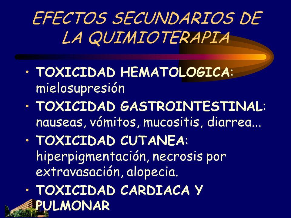 EFECTOS SECUNDARIOS DE LA QUIMIOTERAPIA TOXICIDAD HEMATOLOGICA: mielosupresión TOXICIDAD GASTROINTESTINAL: nauseas, vómitos, mucositis, diarrea... TOX
