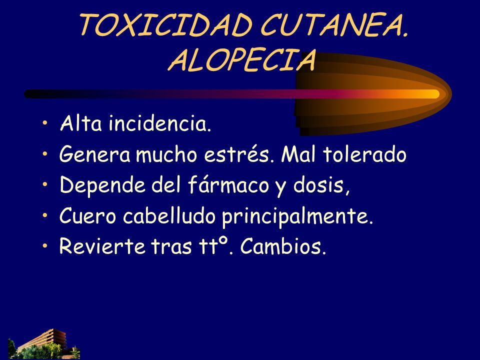 TOXICIDAD CUTANEA. ALOPECIA Alta incidencia. Genera mucho estrés. Mal tolerado Depende del fármaco y dosis, Cuero cabelludo principalmente. Revierte t