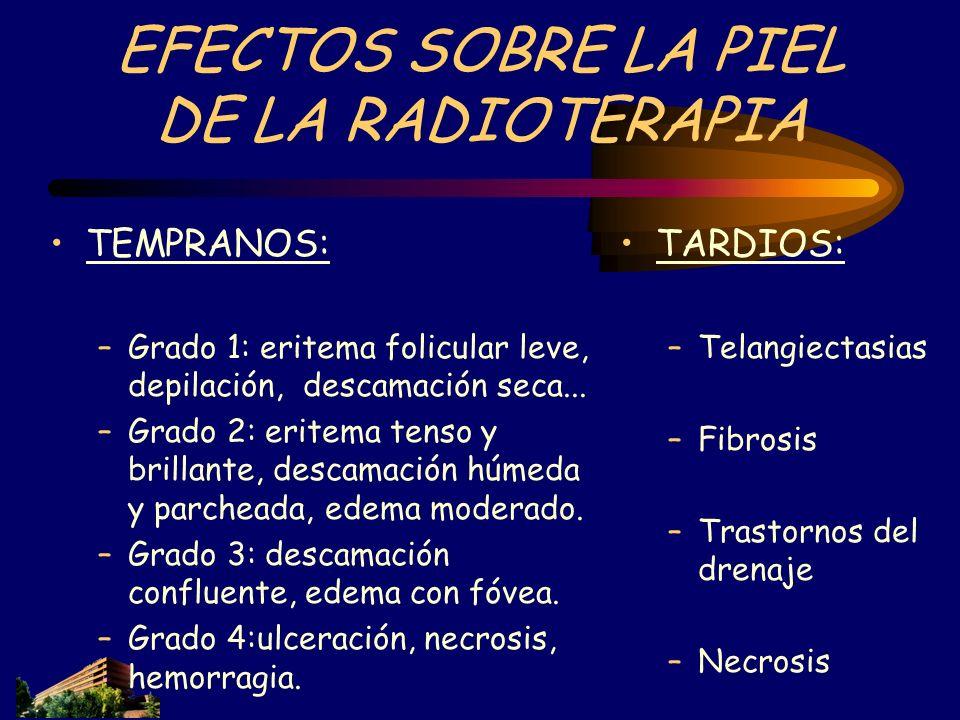 EFECTOS SOBRE LA PIEL DE LA RADIOTERAPIA TEMPRANOS: –Grado 1: eritema folicular leve, depilación, descamación seca... –Grado 2: eritema tenso y brilla