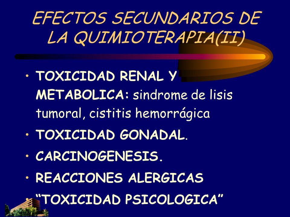 EFECTOS SECUNDARIOS DE LA QUIMIOTERAPIA(II) TOXICIDAD RENAL Y METABOLICA: sindrome de lisis tumoral, cistitis hemorrágica TOXICIDAD GONADAL. CARCINOGE