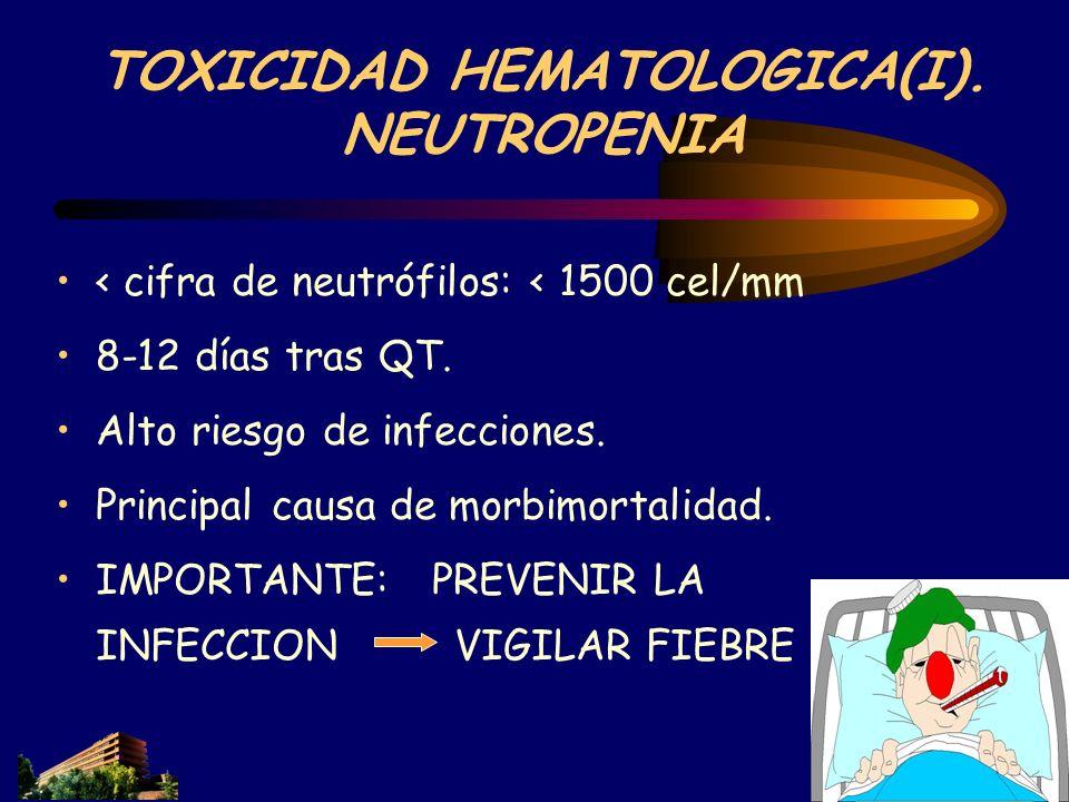 TOXICIDAD HEMATOLOGICA(I). NEUTROPENIA < cifra de neutrófilos: < 1500 cel/mm 8-12 días tras QT. Alto riesgo de infecciones. Principal causa de morbimo