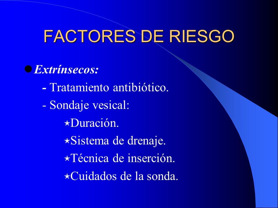 FACTORES DE RIESGO Extrínsecos: - Tratamiento antibiótico. - Sondaje vesical: Duración. Sistema de drenaje. Técnica de inserción. Cuidados de la sonda