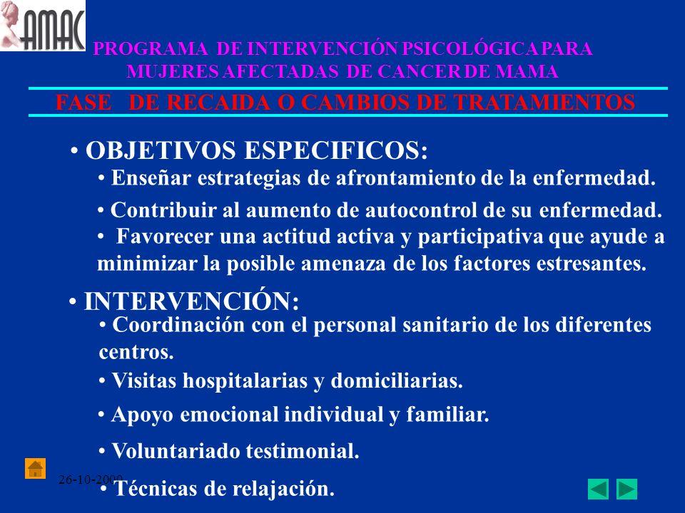 26-10-2000 PROGRAMA DE INTERVENCIÓN PSICOLÓGICA PARA MUJERES AFECTADAS DE CANCER DE MAMA FASE DE RECAIDA O CAMBIOS DE TRATAMIENTOS OBJETIVOS ESPECIFIC