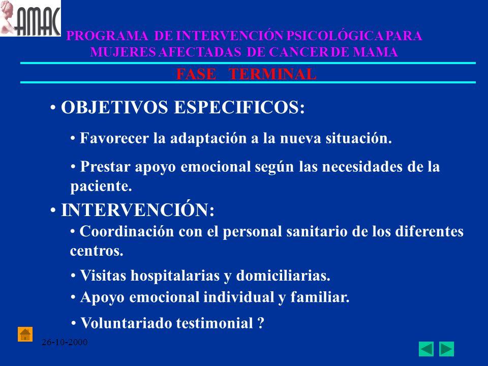 26-10-2000 PROGRAMA DE INTERVENCIÓN PSICOLÓGICA PARA MUJERES AFECTADAS DE CANCER DE MAMA FASE TERMINAL OBJETIVOS ESPECIFICOS: Favorecer la adaptación